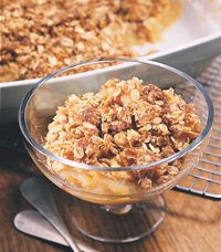 Apple Crumble With Toasted-Oat Topping...4.7g protein and 5.7g fiber per 1/6 recipe