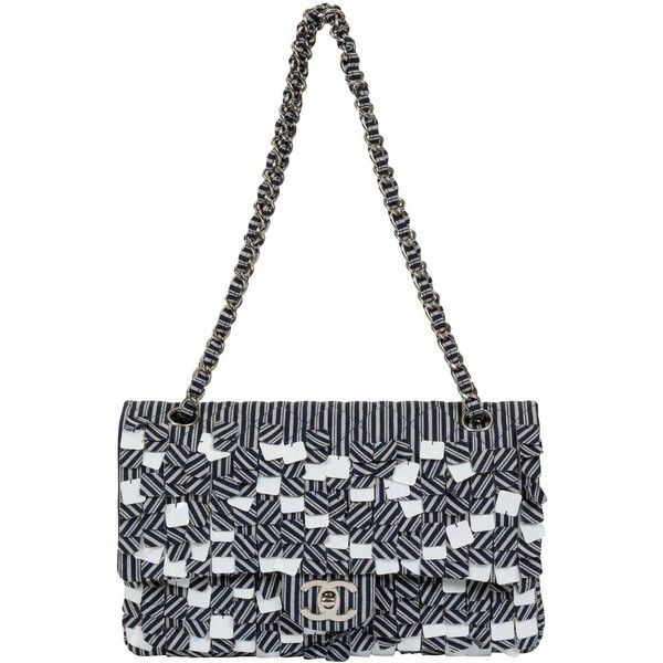 Chanel Blue White Stripe Sequin Flap Bag ($3,230) ❤ liked on Polyvore featuring bags, handbags, shoulder bags, chanel handbags, flap bag, sequin handbags, chanel purse and blue and white purse