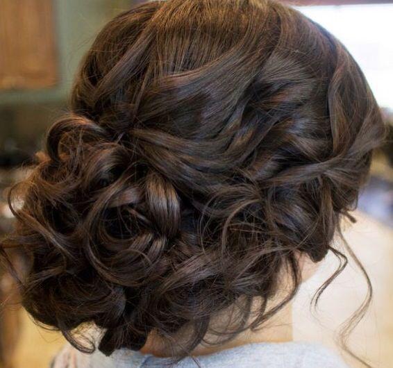 Brunette, up style, up do, curls, soft