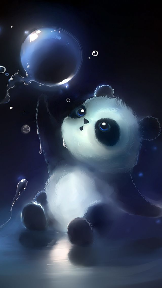 Panda Magic Bubbles iPhone 5 Wallpaper