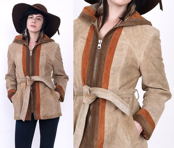70's SUEDE Leather HOODED Zip Up Striped Tan Belted Hippie Boho Jacket Vintage M