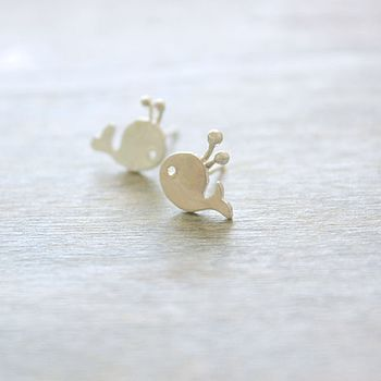 silver baby whale ear studs £20.00