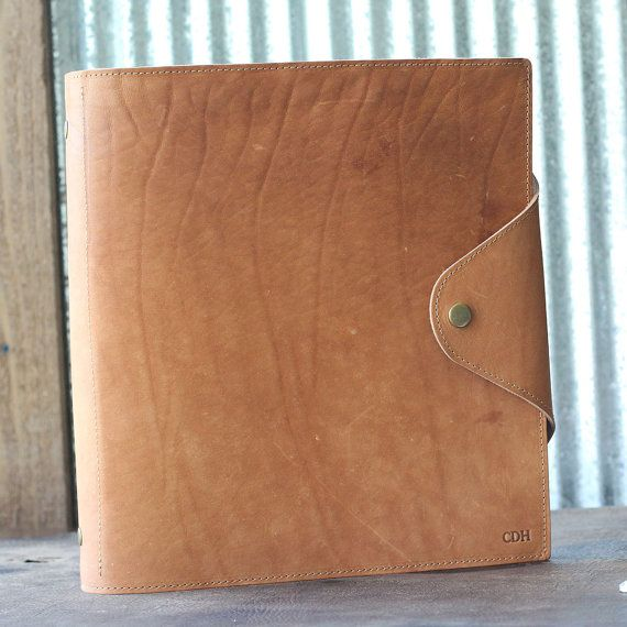 """The Langley - Personalized Fine Leather 3 Ring Binder Notebook Photo Album 1.5"""" binder with pocket agenda"""