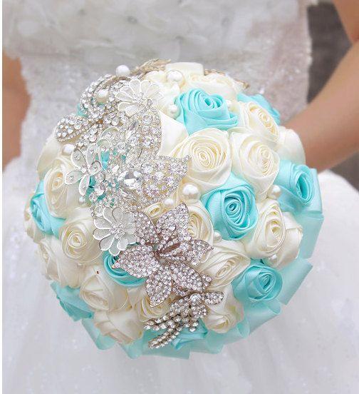 DIY Brooch Tiffany blue/ purple Satin Ribbon Jewelry Rose Bouquet Crystals bridal bouquet bridesmaids
