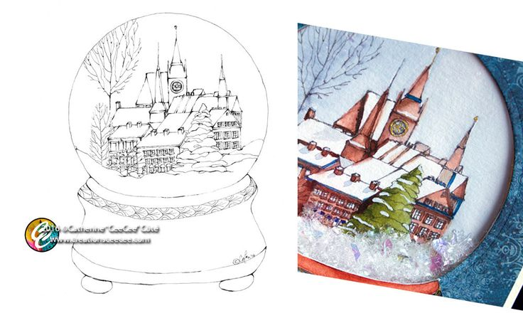printable coloring page - snow globe by creationsCeeCee on Etsy