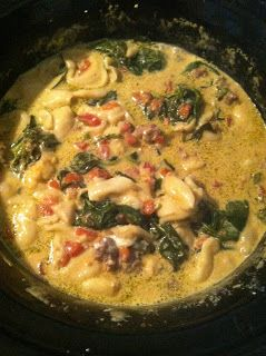 My Milk Glass: Crockpot Spinach Tortellini Soup