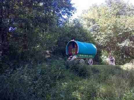 Glamping Wales. This Twelfth of Never Enchanted Creation is an original romantic romany gypsy wagon caravan in a woodland meadow beside a stream.