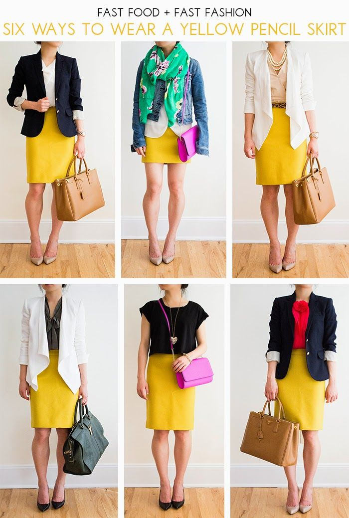 Yellow Skirt Outfit Ideas, Yellow Pencil Skirt Outfit, Mustard Pencil Skirt Outfit, Denim Skirt Outfit Ideas, Yellow Skirts, Mustard Outfit, Pencil Skirt