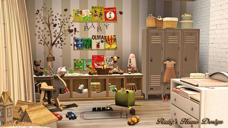"kwsimblr: "" rubyred-1023: "" My nursery room decor. ◡‿◡✿ CC List: CC下載清單 Light Star / Hot Air Balloon / Giraffe / House Shape Shelf / Petala Mobile …"