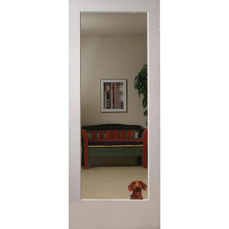 Reliabilt Reflections Primed White Mirror Panel Mirrored Glass Mdf Slab Door Common 28 In X 80 In Actual 28 In X 80 In Lowes Com Slab Door Mirror Panels Glass Doors Interior