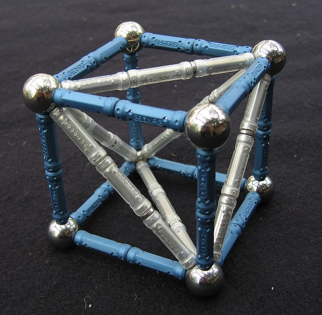 Geomag tetrahedron inside cube