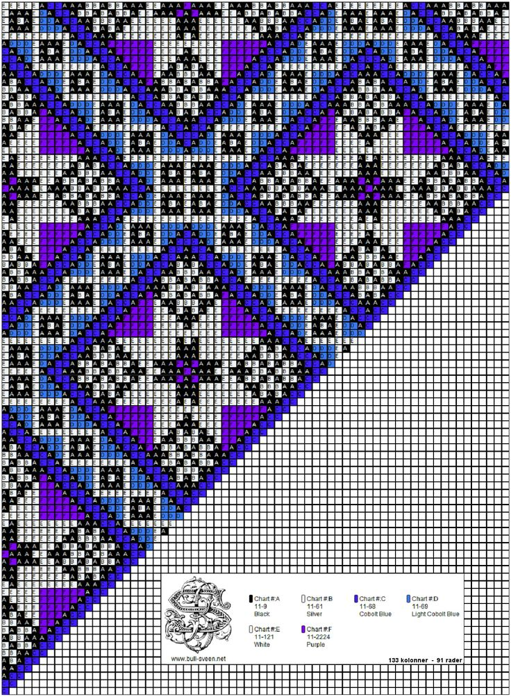 Mønster til bringeklut i bl.a. blått og lilla....