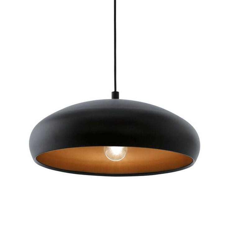 Eglo Mogano 1 Pendant Light (94605) with Black Exterior Steel Shade with Copper Interior and matching Black Ceiling Rose