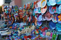 Street Shopping in Nogales MexicoIf you love negotiating for hand-crafted Mexican products, this is the place. You ask how much, counter with a lower offer and the negotiating fun begins on everything from pottery, glassware, furniture, baskets, rugs, leather, jewelry and hand made crafts. Business is done in English and American currency is preferred.