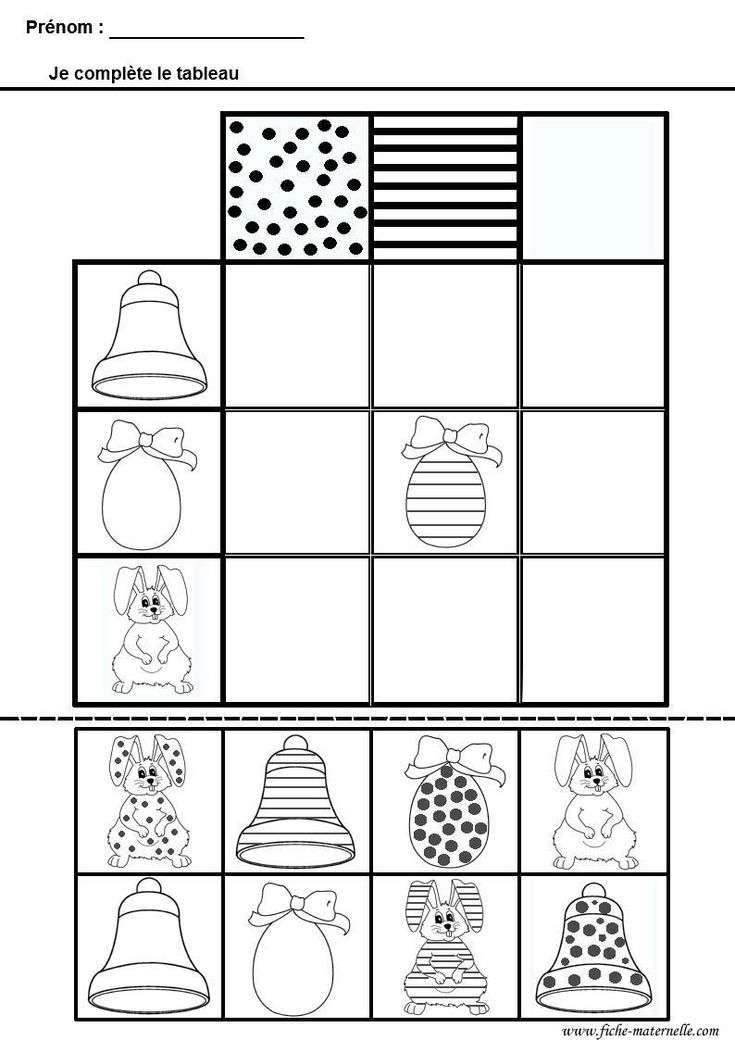 Mathématiques : tableau double entrees pour maternelle ms gs