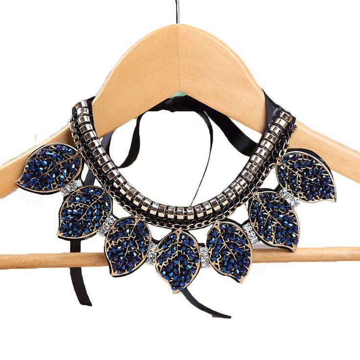 Blauw Kristal Bladeren Verklaring Ketting Vrouwen Kraag Kettingen Zomer Stijl Sieraden Colar Voor Gift Party Bruiloft