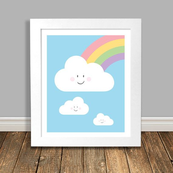 New to HappyHippoArts on Etsy: Digital Printable Art Rainbow with Happy Clouds Printable Nursery Art Sky Blue Art Digital Download Kids Wall Decor - 8x10 11x14 (6.50 CAD)