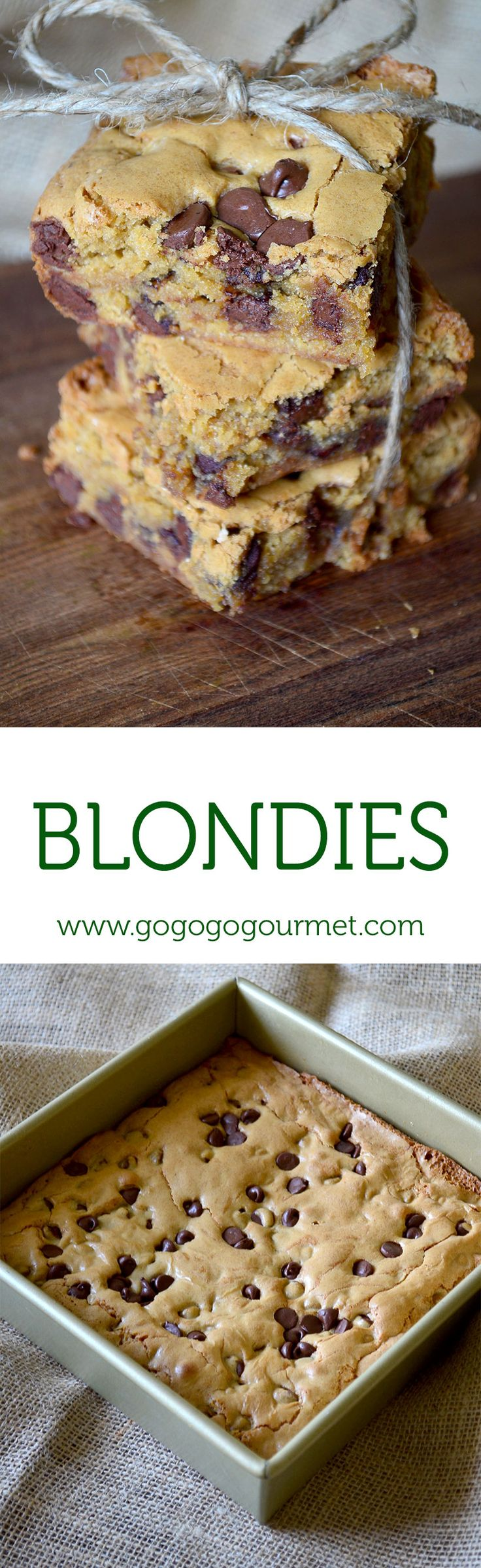 Chocolate Chip Blondies- If a chocolate chip cookie and a brownie had an affair, this would be their love child! | Go Go Go Gourmet @gogogogourmet