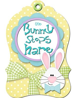 EASTER, THE BUNNY STOPS HARE TAG CLIP ART