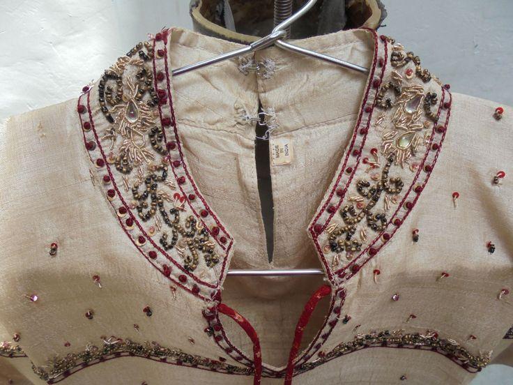 Beautiful 1970's Vintage Silk Kurta with Bead and Gold Thread Hand Work Decoration. by LallibhaiIndia on Etsy