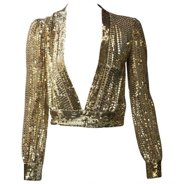 Preowned Scott Barrie 70s Gold Sequin Cropped Jacket Size 4. (€455) ❤ liked on Polyvore featuring outerwear, jackets, tops, shirts, brown, sequin crop jacket, brown jacket, brown cropped jacket, vintage jackets and sequined jackets