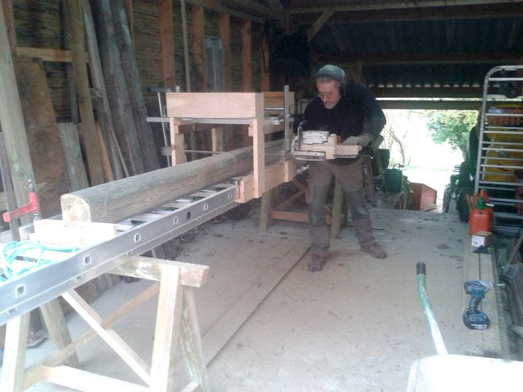 Milling Lumber with ladder & chainsaw