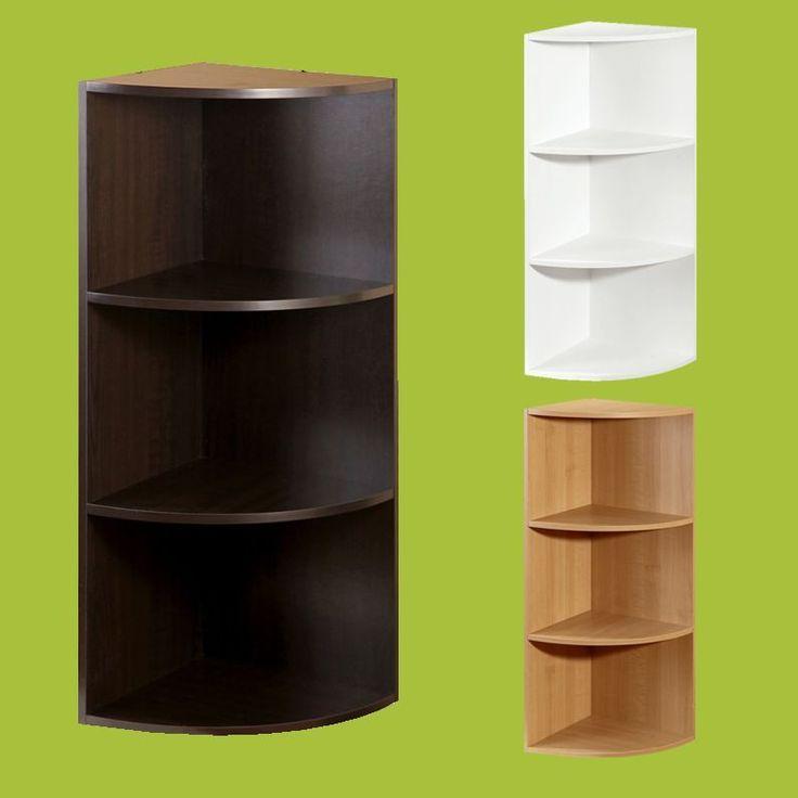 Wood Corner Bookcase Closet Organizer Cloth Rack Storage Furniture System 3Shelf #CornerClosetOrganizer #ClotheStorage