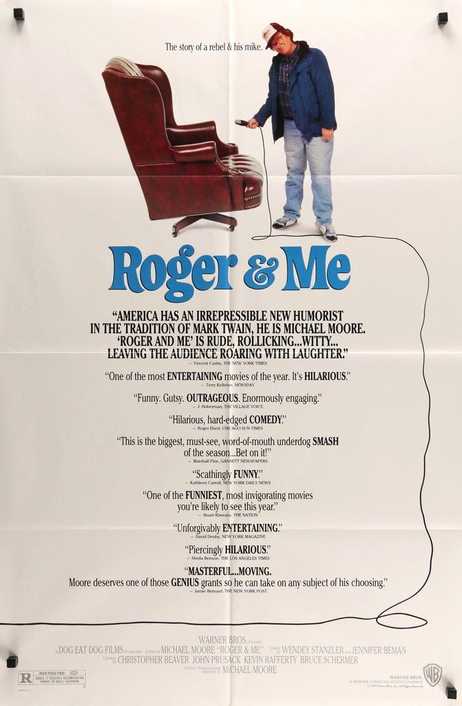 """Roger & Me (1989) Vintage One Sheet Movie Poster - 27"""" x 41""""  This is a rare, vintage one-sheet movie poster from 1989 for the documentary film Roger & Me. The movie was written, produced, directed by Michael Moore (in his first and breakthrough film). The 27-year-old poster measures 27""""x 41"""" and is in very good condition. It was folded before being shipped to a movie theater in 1989 and has minimal, age-appropriate fold wear. Free U.S. Shipping!"""