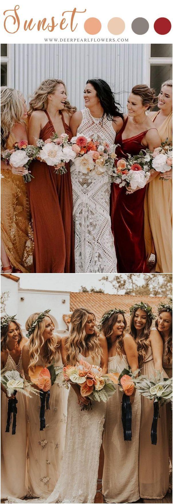 Sunset Orange Fall Wedding Color Ideas Fall Orange Bridesmaid Dresses Weddings Weddin Orange Bridesmaid Dresses Rustic Bridesmaid Dresses Bridesmaid Colors [ 1755 x 604 Pixel ]