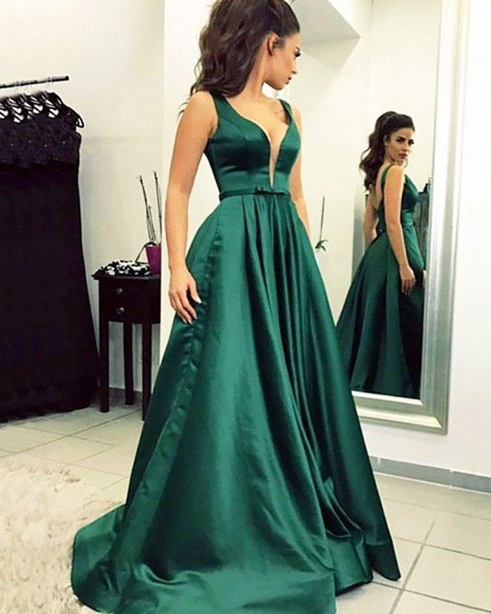 56fb84fbfcb Simple Pleated V-neck Green Satin Ball Gown Prom Dress PM1199 in 2019 |  Products you tagged | Dark green prom dresses, Prom dresses, Backless prom  dresses