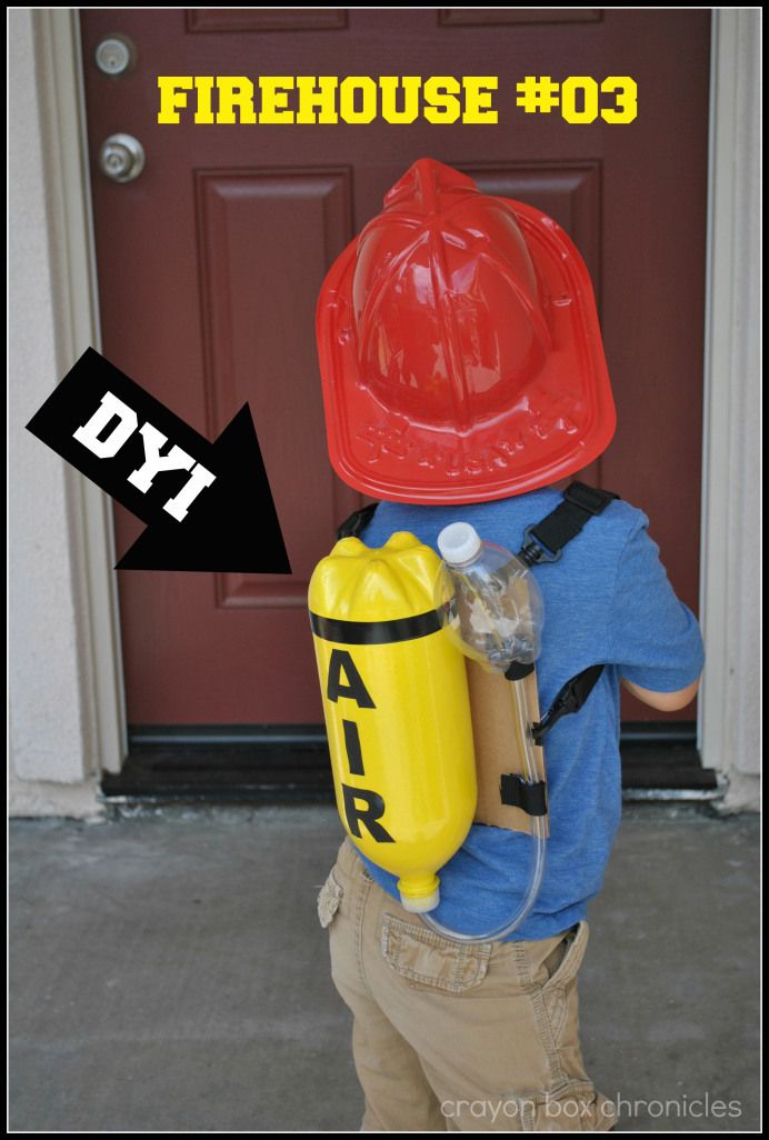 love this idea of using a recycled soda bottle to make into a firefighter oxygen tank.