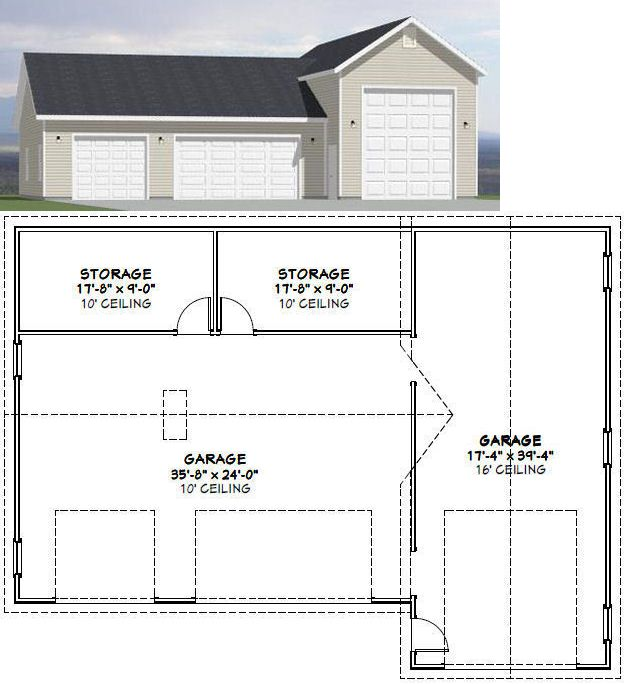54x40 1 Rv 3 Car Garage 1 944 Sq Ft Pdf Floor Plan Floor Plans Building Plans Flooring