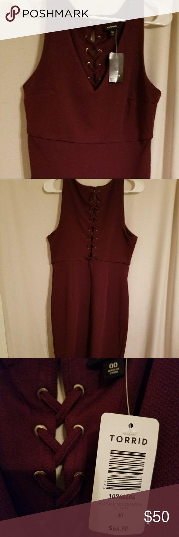 Burgundy colored strapless body con dress Torrid brand mini body con dress with lace up back. Torrid size 00 equal to a size large. Torrid Dresses Mini