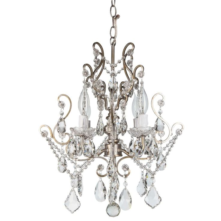 "- Dimensions: 15.5"" (Length) X 15.5"" (Width) X 17"" (Height) - Authentic K9 glass crystal dangles and beads (Not plastic or acrylic) - 4 Lights, UL-Listed (Uses 25 Watt E12 light bulbs; compatible with"