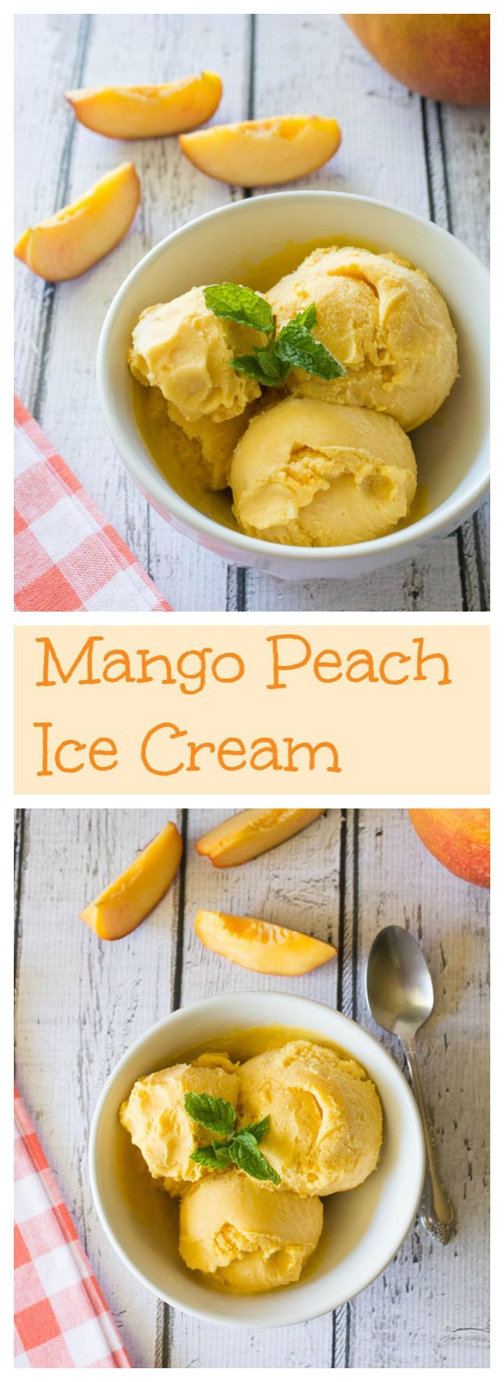 Mango and Peach pair so perfectly together; especially in this delicious ice cream! So easy to make and ridiculously good.