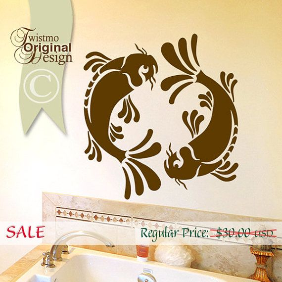 SALE Koi Wall Decal Pisces Yin Yang Wall Decal Koi by Twistmo