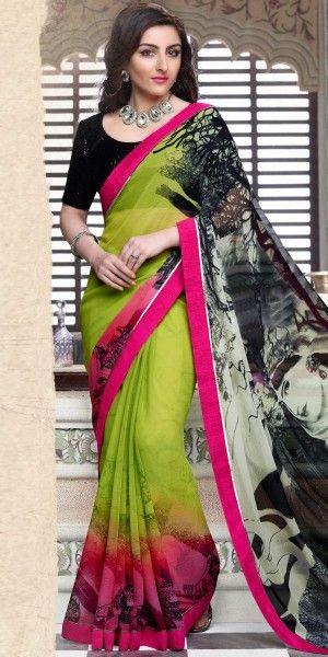 Soha Ali Khan Green Chiffon Saree With Blouse.
