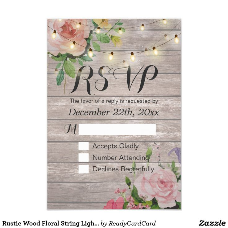 Rustic Wood Floral String Light Wedding RSVP Reply CardWedding RSVP Reply Card Templates - Vintage Watercolor Floral and Elegant String Lights on Rustic Wood Texture Background. A Perfect Design For Your Big Day! All Text Style, Colors, Sizes Can Be Modified To Fit Your Needs.