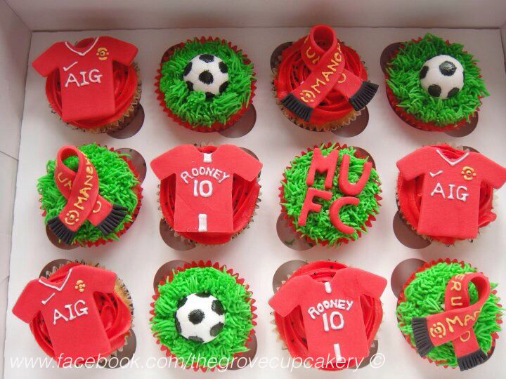 Cupcakes: Manchester United football cupcakes. With scarf, football shirts & footballs. MUFC. Www.Facebook.Com/thegrovecupcakery