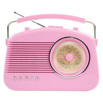 Radio AM/FM de diseño retro color rosa - HAV-TR700P  Radio de diseño retro en color rosa. Tiene una rueda para sintonizar las emisoras con las frecuencias de grandes ciudades marcadas sobre ella. Puede elegir entre el modo AM o FM. Incorpora botones para el control de volumen y de tono. El botón de control de tono le permite ajustar la nitidez del sonido.