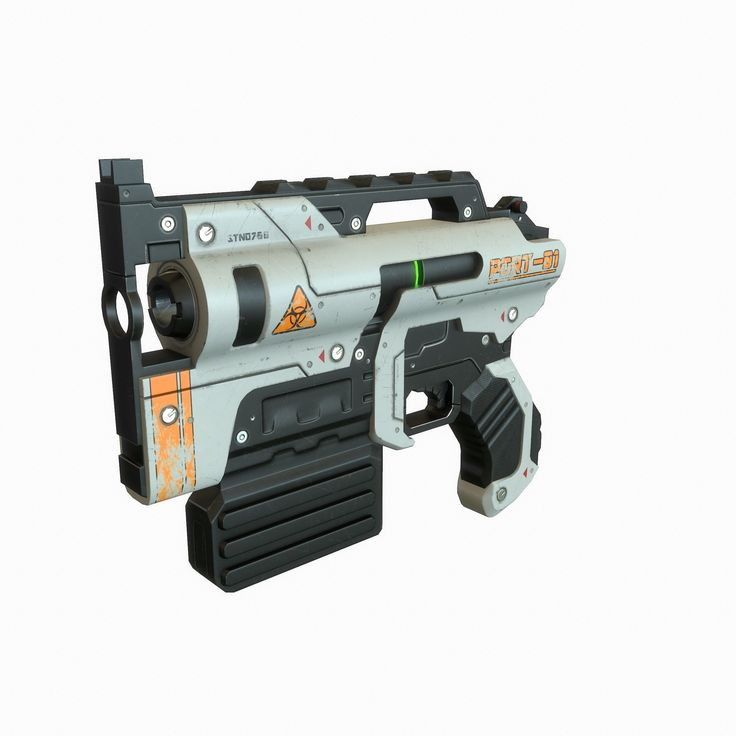 sci fi gun 3d model low-poly max obj tga 1