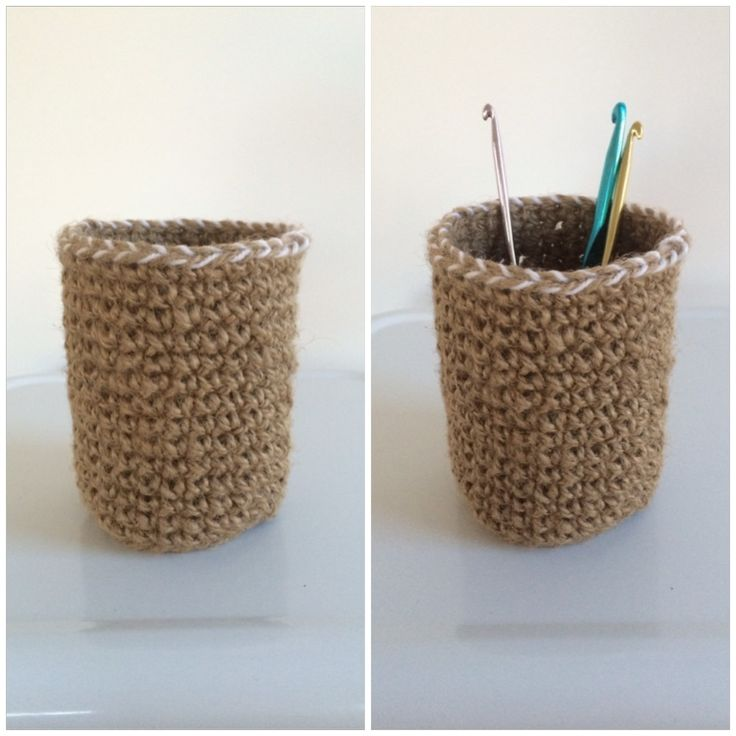 This container is crocheted from heavy stringy jute twine with a feature trim of white acrylic wool.  It gives a rustic look with the trim giving it a touch of sophistication.  It measures about 12cm high by 8cm diameter.Perfect to help organise your desk or craft space. Also a great gift idea.  It would be a great little motivation gift for someone starting a new job or university. Custom orders ship within 1-2 weeks.