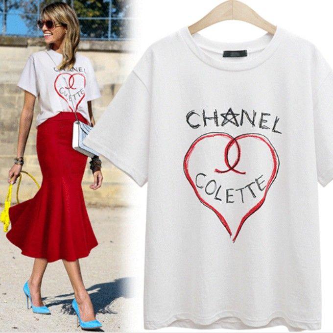 bb73029b Channel Colette CC t shirt tee Love Print Tops Tees Loose Female style  celebritie | Fashion | Tops, Fashion, T shirt