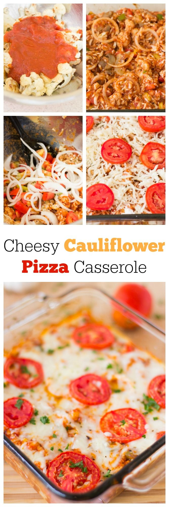 Cauliflower Pizza Casserole is a cheesy, easy vegetarian dish for dinner that you can fill with all your favourite pizza toppings! #vegetarian #cauliflower #dinner #pizza