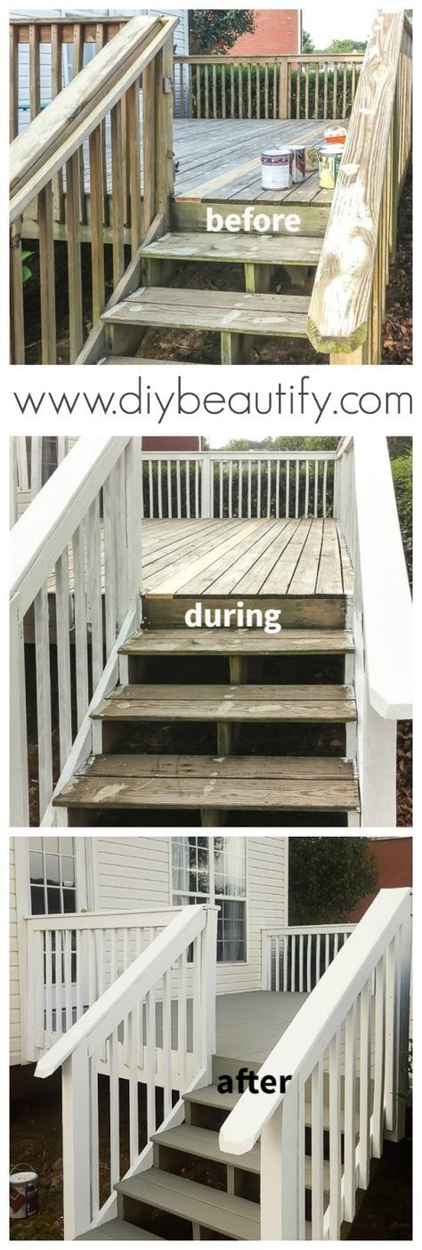 Our gross deck was cleaned and updated with paint. You'll find all the details, including the products used,  at diy beautify!