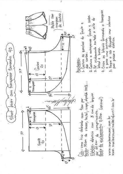 схема шитья шорт
