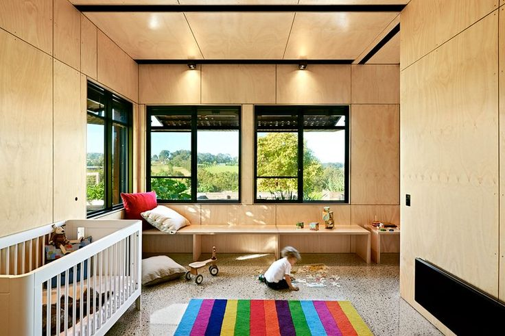 Hoop pine plywood walls and ceilings in Kids' Pod                                                                                                                                                                                 More