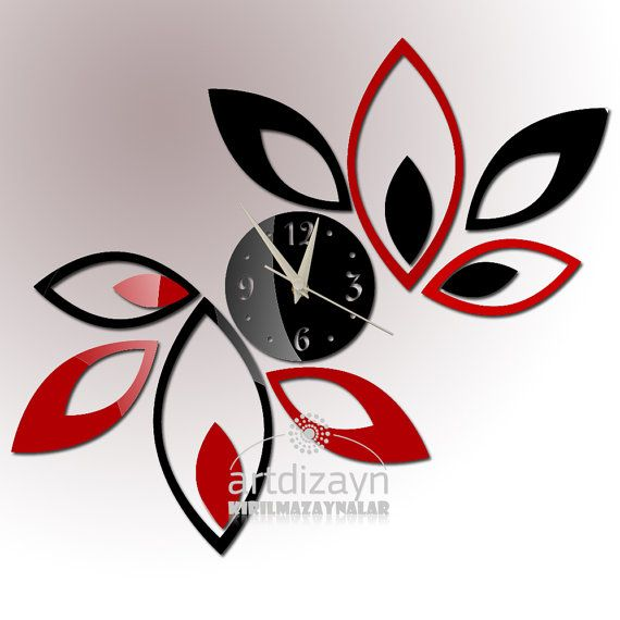 Modern Wall Clock Red And Black Living Room By Walldecal76, $29.00 Part 68