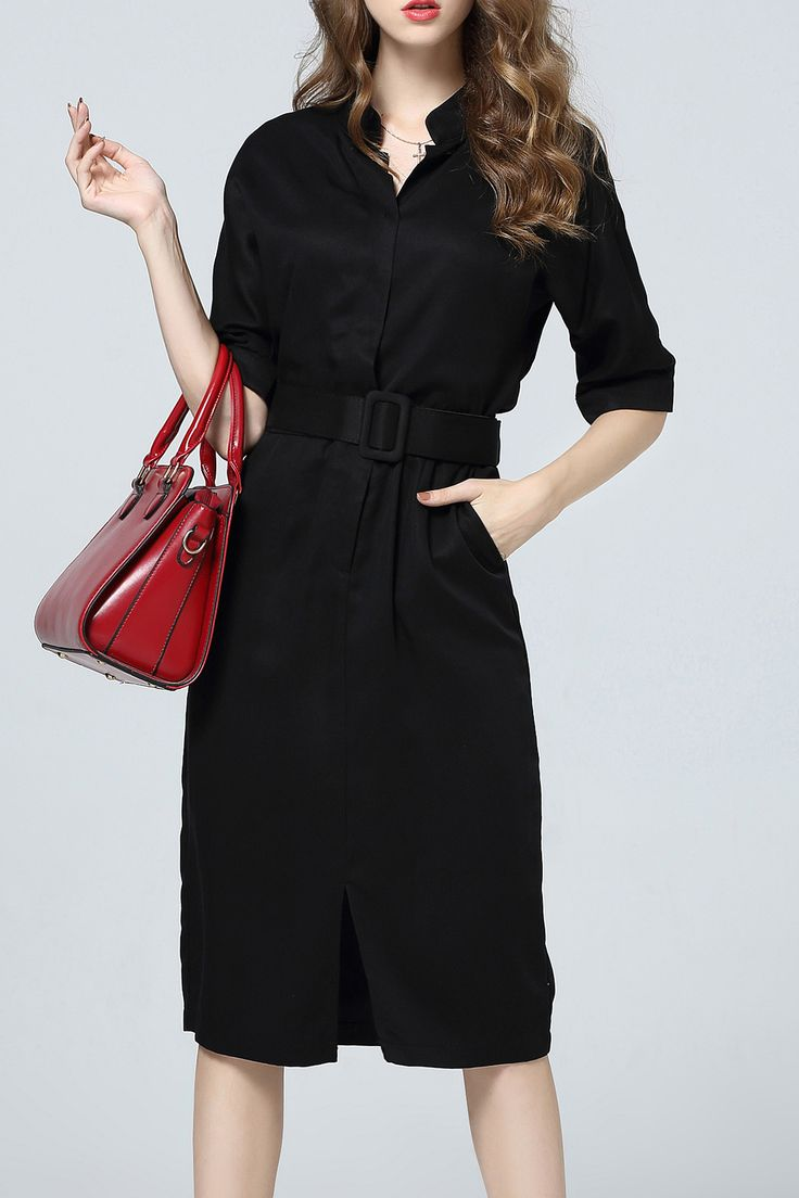 Work Style Belted Black Dress #Work_Dresses #Working_Woman #Fashion #LBD