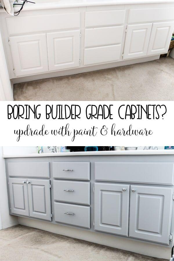 Upgrade Your Boring Builder Grade Bathroom Cabinets Painting Bathroom Cabinets Shower Bath Combo Cabinet Makeover